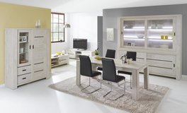 """United Furniture - """"Gabriel"""" - China small - Table 160 - 4 Chairs (black or white) -includes del. in Wiesbaden, GE"""