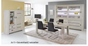 """United Furniture - """"Gabriel"""" - China small - Table 160 - 4 Chairs (black or white) -includes del. in Heidelberg, GE"""