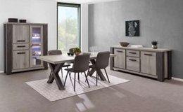United Furniture - Matteo Dining Set in Dark Forest + Black including delivery in Grafenwoehr, GE