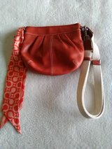 COACH Hobo Pleated SMALL Tangerine Orange Leather Bag with Matching Coach Scarf in Naperville, Illinois
