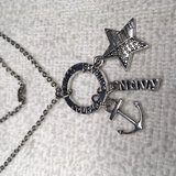 Navy Charm Necklace on Stainless Chain Ring with Courage Hold Three Charms in Kingwood, Texas