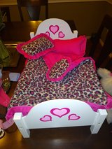 18 inch Doll bed with 3 pillows sheet and comforter set in Kingwood, Texas