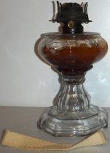 Antique Vintage (Late 1800s) Oil Lamp - Glass w/Brass - No Hurricane Chimney in Joliet, Illinois