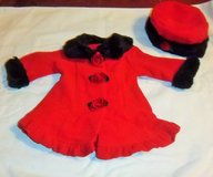 New red coat and hat - size 6 months in Alamogordo, New Mexico