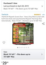 Heavy Duty Magnetic Mesh Curtain For Patio Door up to 72''x80'' in Fort Polk, Louisiana