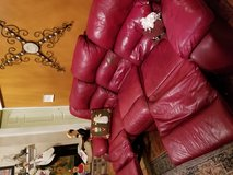Red Leather couch in Beaufort, South Carolina