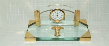 Medical Profession Desk Clock / Rod of Asclepius Glass / Brass Trim in Naperville, Illinois