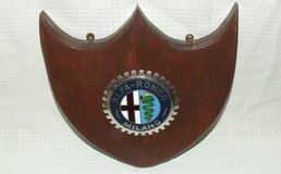 Vintage Alfa-Romeo ~ Milano ~ Sports Car Grill Badge Mounted on Plaque in Oswego, Illinois