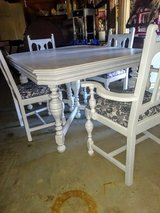 chalk painted Antique dining table and chairs in Cherry Point, North Carolina