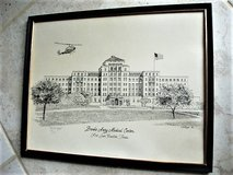 Old Brooke Army Medical Center / Original Lithograph / Signed & Numbered in Lackland AFB, Texas