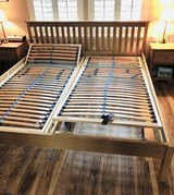 King Size bed frame solid oak with foam mattresses in Travis AFB, California