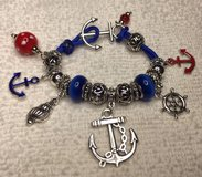 Navy Charm Bracelet on Paracord with Pandora Style Beads in Houston, Texas