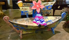 Colorful Teak Boat Bench with 5 compartments. in Okinawa, Japan