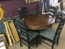 Wood Kitchen Table W/ Built In Leaf and 4 Ladder Back Chairs in Fort Polk, Louisiana