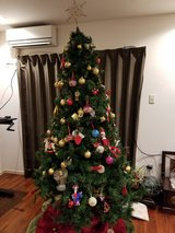 7 ft Christmas Holiday Tree (3 pieces plus base) in Misawa AB, Japan