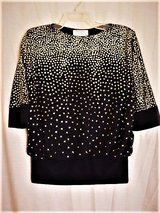 Women's Pat Richards Black Over Blouse with Gold Accents by Michael Maiello / Size 6 in Lackland AFB, Texas