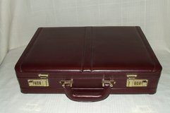 Briefcase Attache Case Expandable / Combination Locks ~ Top Grain Leather ~ Burgundy in Glendale Heights, Illinois