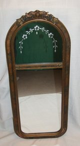 Antique / Vintage Wall Mirror / Wood Frame & Ornate Flower Designs in Bolingbrook, Illinois