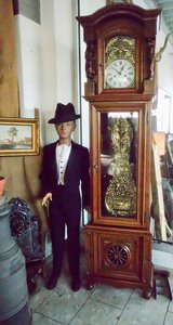 Hand carved grandfather clock from Brittany with Comtoise works in Wiesbaden, GE