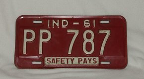 Vintage State of Indiana 1961 License Plate in St. Charles, Illinois