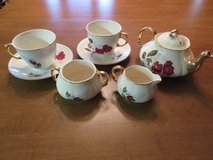 Heatmaster Tea pot, creamer, sugar bowl, & 2 Coronet Ware tea cups with saucers in Alamogordo, New Mexico
