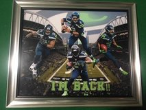 "*** SEAHAWKS - Lynch, Wilson, Wagner, Lockett ""I'M BACK"" 8x10 framed Lithograph *** NEW in Fort Lewis, Washington"