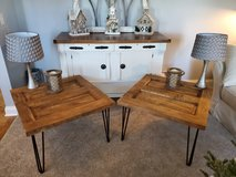 Brown stained door end tables in Yorkville, Illinois