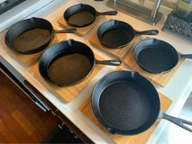 5 cast iron pans and bamboo chargers in Okinawa, Japan