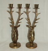 Vintage Brass Stag Hart Deer Candle Holders Pair ~ Candelabra ~ Majestic in Naperville, Illinois
