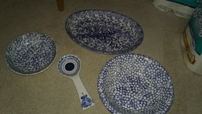 Blue Spongeware and Spode, Salad bowl set in Quantico, Virginia