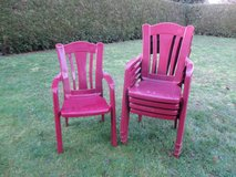5 burgundy lawn chairs in Ramstein, Germany