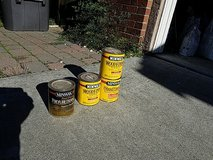 Open cans of stain/varnish in Travis AFB, California