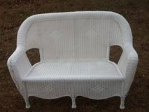 Hampton Bay white resin wicker loveseat in Warner Robins, Georgia
