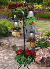 Solar LED Plant Stand with Coco Hanging Baskets in Ramstein, Germany