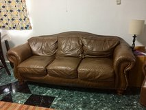 Brown Leather Couch and Electric Recliner in Okinawa, Japan