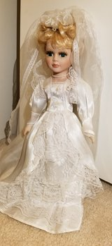 Lovely Vintage Porcelain Wedding Dress Bride Doll  - with stand in Houston, Texas