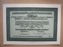 92 year old German Stock Certificate in Wiesbaden, GE