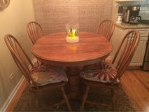 Solid Oak Kitchen Table and Chair Set in Aurora, Illinois