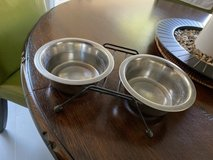 Small pet stainless steel food/water station in Kingwood, Texas