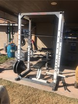 Squat rack, Bench, Cable, 45lb Olympic weight bar, 22lb rogue weight bar, and weight plates in Alamogordo, New Mexico