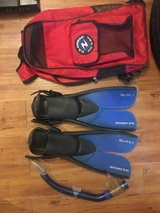 Kids fins and snorkel with bag in Okinawa, Japan