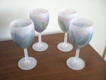 4 HAND-PAINTED WINE GLASSES - IRISES on FROSTED GLASS in Sandwich, Illinois