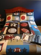 Like New Sports Bedspread, Shams, NEW Window Panels, and BedSkirt in Yorkville, Illinois