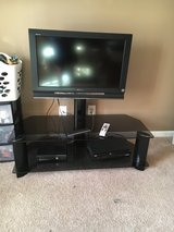 "2 tier black TV stand with 32"" Sony TV in Warner Robins, Georgia"