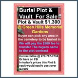 Burial Plot + Vault in Hopkinsville, Kentucky