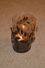 Glass Candle Holder with Candle in Alamogordo, New Mexico
