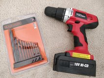18-Volt Ni-Cad Cordless Drill with battery + Bit Set in Westmont, Illinois