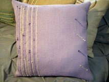 NEW DESIGNER SOFT BURLAP/YARN PILLOW -DANIEL by cmk - 18 x 18 in Sandwich, Illinois