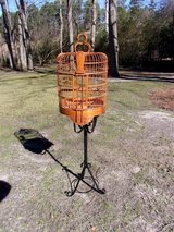 Vtg Chinese Bamboo Birdcage/Wrought Iron Stand in Byron, Georgia