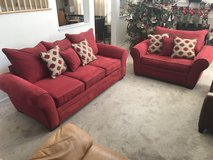 2pc Red Upholstered Oversized Sofa Set+ Throw Pillows- American Signature in Joliet, Illinois
